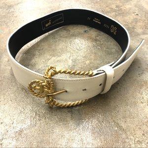 Vintage Buckle Belt Oversized White Nautical Gold